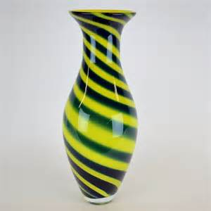 large yellow blue swirl design murano vase contemporary