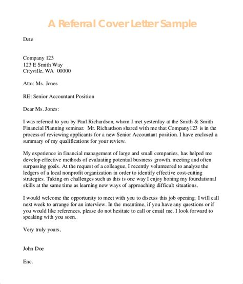 cover letter exle cover letter exle referral cover