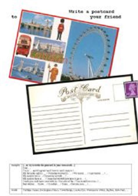printable london postcards english worksheet write a postcard from london
