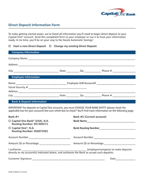 direct deposit form free capital one 360 direct deposit authorization form