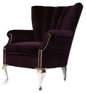 Purple Accent Chair Pre Owned Purple Channel Back Wing Chair Transitional Armchairs And Accent Chairs