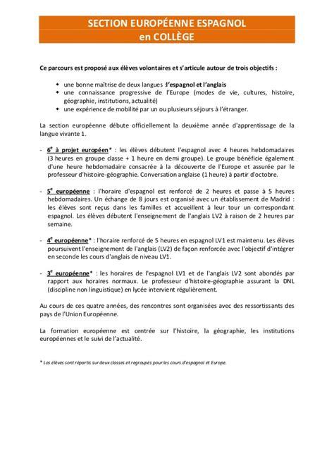 Présentation Lettre Espagnol Bac Section Europ 233 Enne Espagnol Coll 232 Ge Et Lyc 233 E