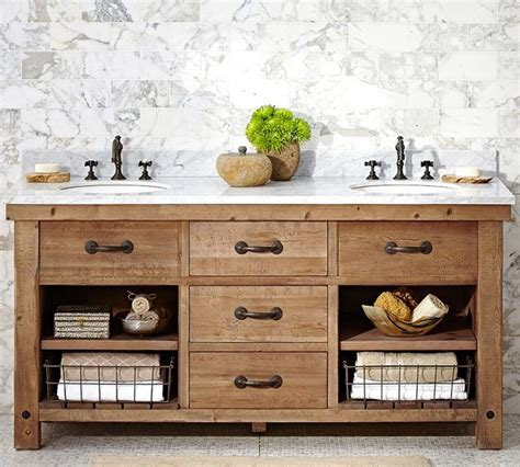 country bathroom cabinets benchwright sink console wax pine finish country