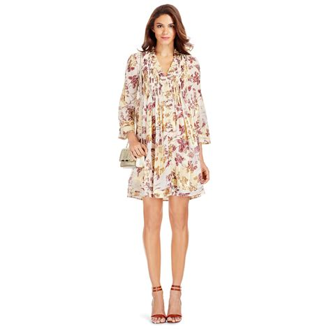 Alyla Dress diane furstenberg dvf layla chiffon tunic dress in purple raisin calico lyst