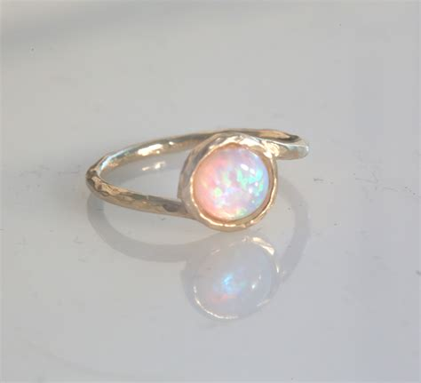 gold filled ring gemstone ring stacking ring white opal