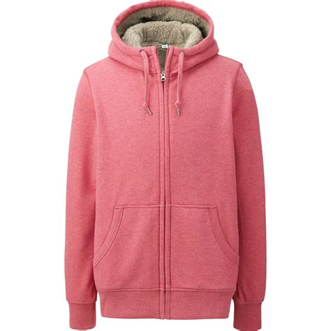 Uniqlo Zip Hoodie 7 uniqlo faux shearling sweat sleeve zip hoodie in pink for lyst