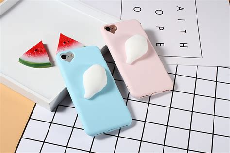 Silicon 3d Cover Soft Tpu Squishy Cat Seal Iphone 7g 3d stress reliever squishy silicone seal tpu phone