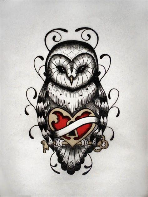 owl with heart coffin tattoo design in 2017 real photo