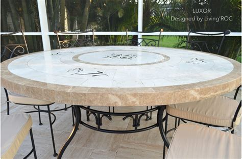 60 quot large round marble mosaic patio dining table luxor