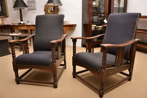 upholstered reclining chairs 1920s pair of arts and crafts upholstered oak reclining