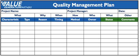 project quality management plan template pmbok generating value by using a project quality management