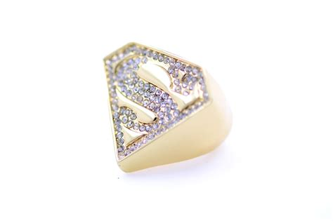 superman quot s quot logo ring uk size m gold or black front