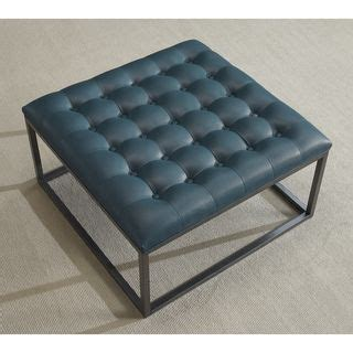 Best Deals On Ottomans Healy Teal Leather Tufted Ottoman