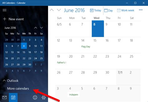 add national holidays to windows 10 calendar app