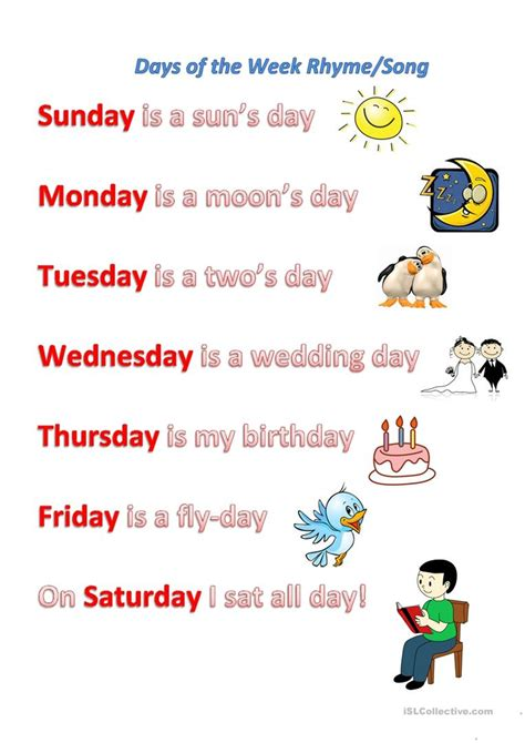 s day song esl days of the week rhyme song worksheet free esl printable