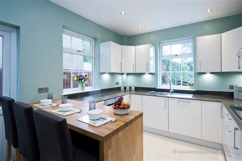 Blue Kitchen Walls White Cabinets White Kitchen Worktops With Blue Walls Contemporary Kitchen Berkshire By Marek
