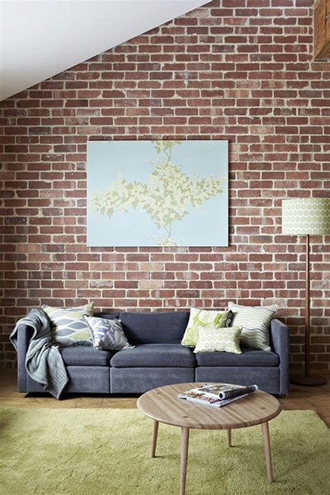 couch wall brick wall grey sofa beautiful places spaces pinterest