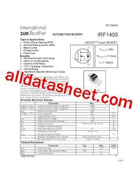 Transistor Irfz24n irf1405 データシート pdf international rectifier