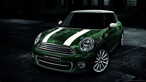 Mini Cooper Screensaver Green Mini Cooper D White Stripes Bonnet Picture For