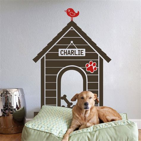 dog home decor dog house wall sticker indoor personalized name animal