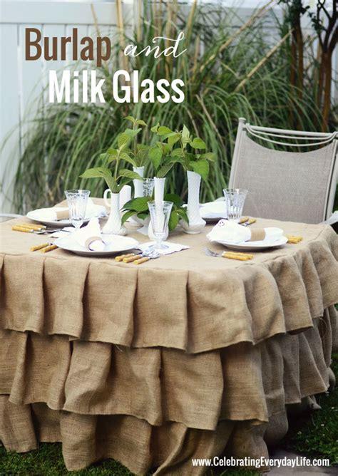 burlap and milk glass tablescape uncommon designs
