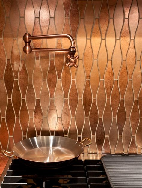 copper backsplash tiles for kitchen stunning copper backsplash for modern kitchens decozilla