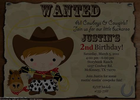 cowboy invitation template cowboy birthday invitations gangcraft net