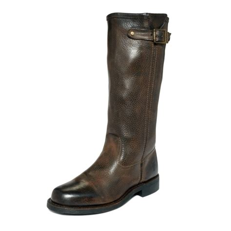 frye arkansas slouchy boots in brown lyst