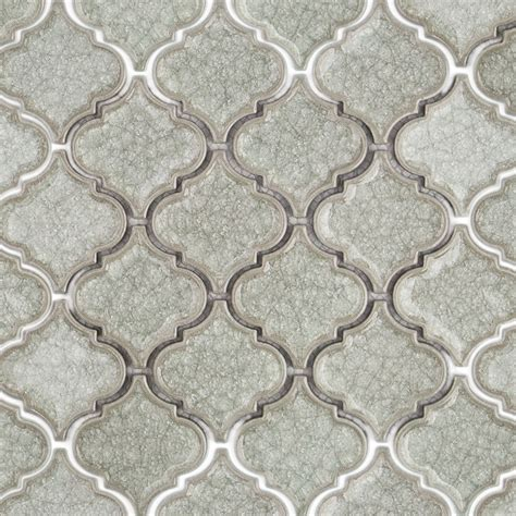 Kitchen Mirror Backsplash by Roman Collection Frosty Morning Arabesque Glass Tile