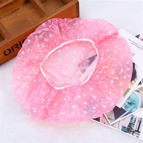 6xcolorful waterproof plastic hat hair cover bath shower