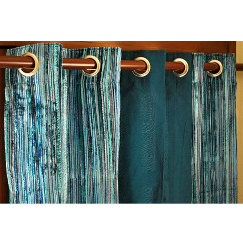 peacock curtain panels teal velvet pin stripes and peacock green silk curtain panels