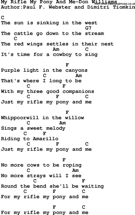 my lyrics williams country my rifle my pony and me don williams lyrics
