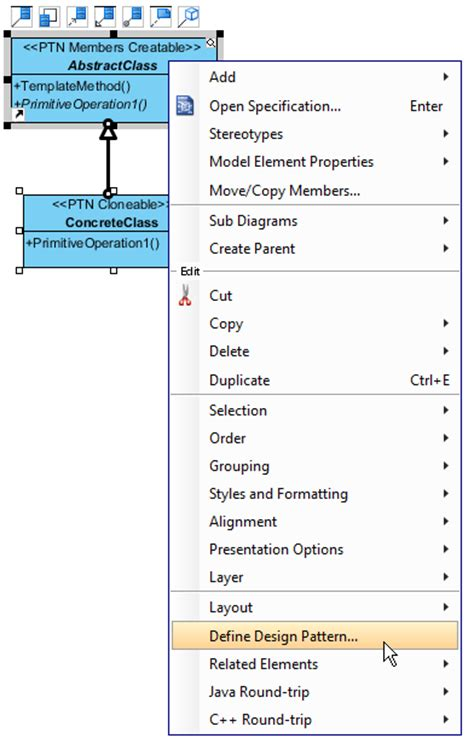Define Design Template working with template design pattern
