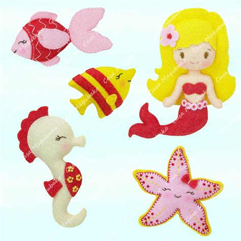 pattern for felt mermaid mermaid and other sea creatures sewing pattern pdf file