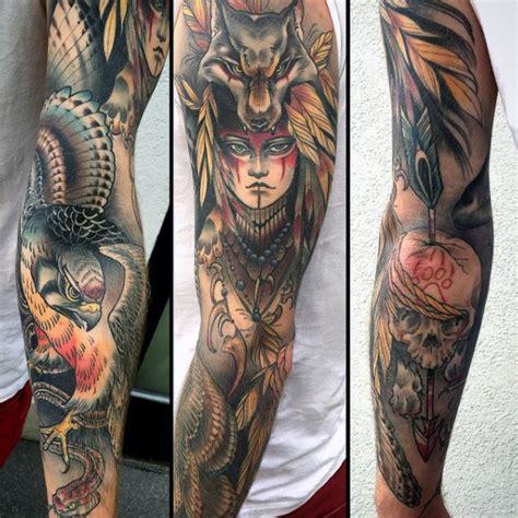 native american tribal sleeve tattoos 100 hawk designs for masculine bird ink ideas