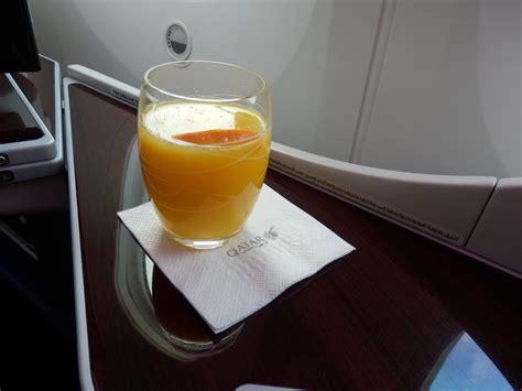orange juice before bed qatar airways dreamliner business class bru doh the
