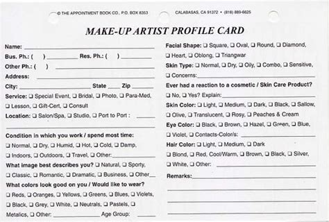 client profile cards template items similar to make up artist client profile cards