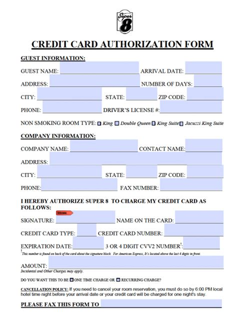 Credit Card Auth Form Template