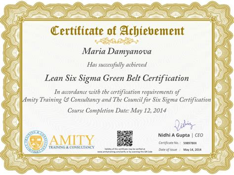 green belt certificate template six sigma green belt and certification program