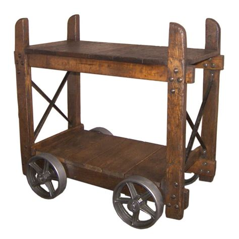 industrial bar cart vintage industrial wood and cast iron bar cart end table