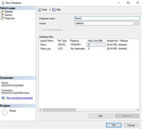 make database sql server 2016 create a database