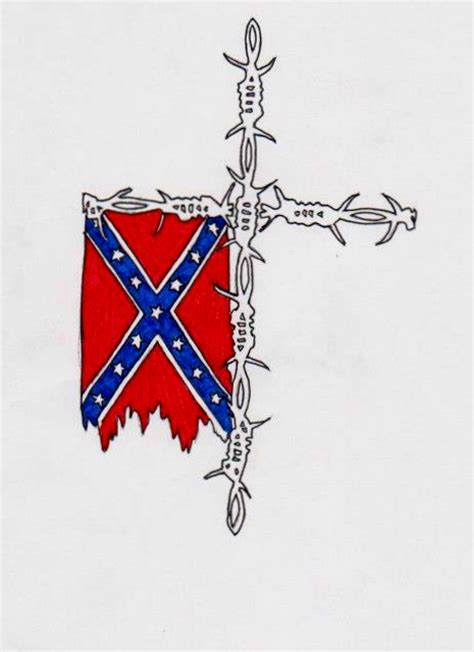 rebel flag on barbed wire cross by inkedsoulsdesigns on