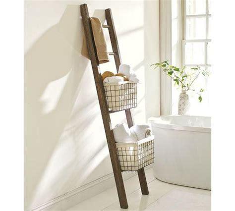 bath towel ladder lucas reclaimed wood bath ladder storage pottery barn