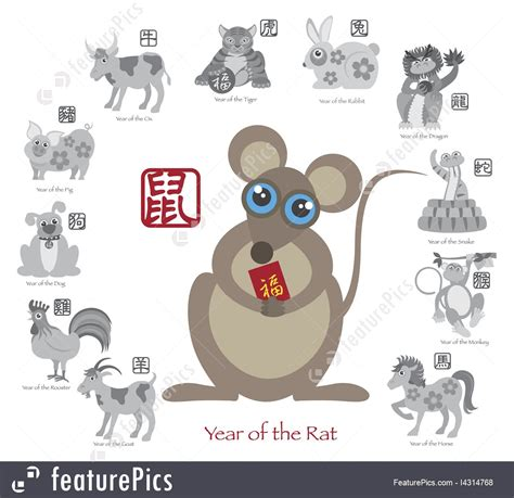 new year what does rat new year rat color with twelve zodiacs illustration