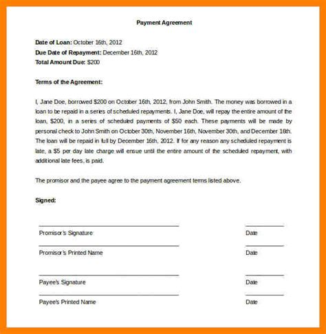 Agreement Letter For Payment Between Two Exle Of Simple Curriculum Vitae Template Include