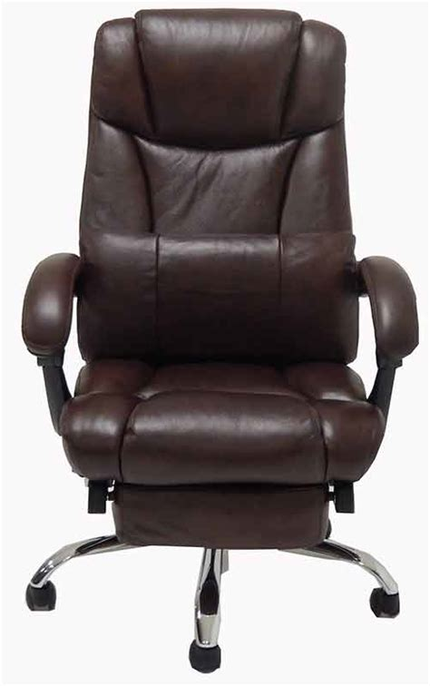 office recliner chair leather leather reclining office chair w footrest