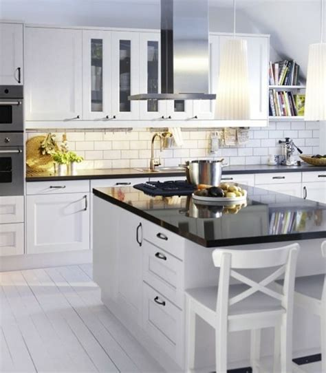 White Ikea Kitchen Black Counters Dream Pinterest Ikea Kitchen Cabinets White