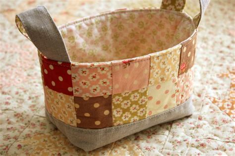 Patchwork Basket - patisserie fig tree quilts handmade basket and quilt e