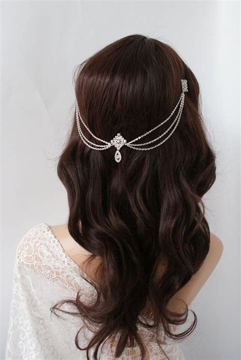 Vintage Bridal Hair Chain by 1920s Wedding Headpiece With Swags Vintage Bridal