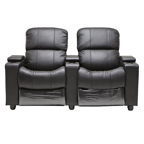 cinema recliner lounge sophie black leather 2 seater home theatre recliner lounge